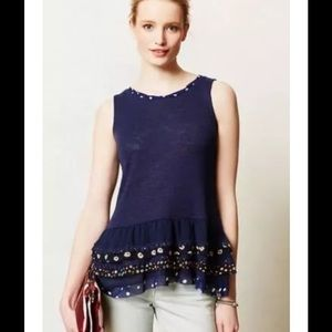 Anthropologie Tops - Anthropologie Chacha Tank Navy Ruffled Top