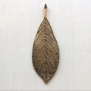 Jewelry - Brass Boho Feather Leaf Large Pendant Charm Hippie