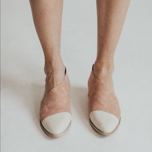 Shoes - Freya two tone flats - Cream