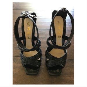 L.A.M.B. Shoes - L.A.M.B Zipper Strappy Back Zip Platform Sandals
