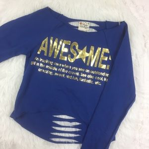 """Pretty Rebellious Tops - """"AWESOME"""" graphic cut out pullover lightweight top"""
