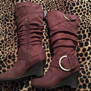 Journee Collection Shoes - Journee Collection Suede Wedge Slouch Boots