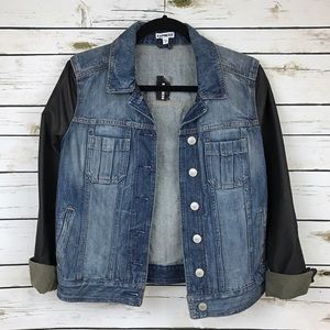 Express Jackets & Blazers - Express Black Faux Leather Sleeve Denim Jacket