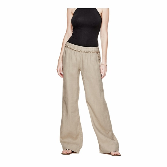 25% off Guess Pants - DARK CHINO CHAINED WIDE-LEG LINEN DRESS PANTS! from Jessica's closet on ...