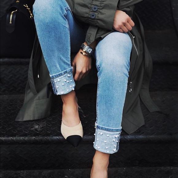 998739a1 Zara blue jeans with Pearl detailing fold hem 6