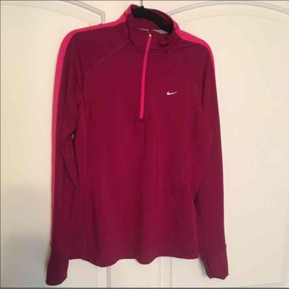 33 off nike tops women nike zip up pullover maroon dk pink from bree 39 s closet on poshmark. Black Bedroom Furniture Sets. Home Design Ideas