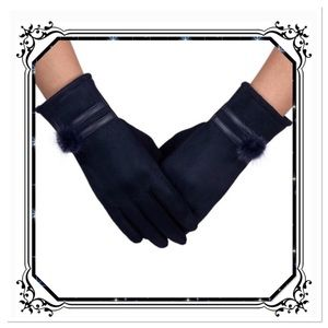 Navy Faux Suede Gloves