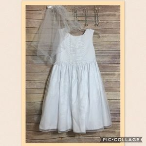 American Princess Other - Girls White Dress Veil Communion Flower Girl Plus