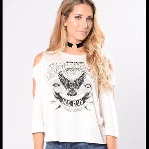 Fashion Nova Tops - Graphic cold shoulder tee
