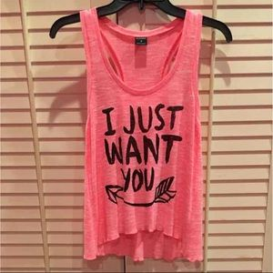 Stranded Tops - NWOT 'I just want you' bright pink sweater tank