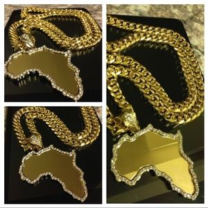 Other - 14K Gold Plated Cuban Necklace w/ LRG Africa