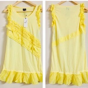Dresses & Skirts - Yellow ruffled dress with button shoulders