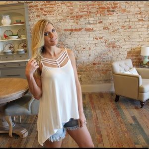 Tops - Ivory detail front asymmetrical top