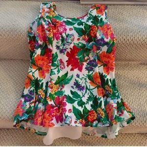 Boutique top floral with bow sz L
