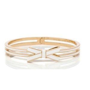 kate spade Jewelry - ✨NWT✨ Kate Spade White Double Bow Bangle Bracelet