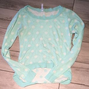 Absolutely Sweaters - Mint and white polka dot high low sweater