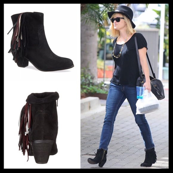 aec9d691b07554 sam edelman    metallic fringe black louie boots. M 593a9dda78b31c1f620255c8