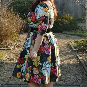City Chic Floral print and Flare dress (plus size)