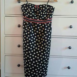 Anthropologie Strapless Polka Dot Dress