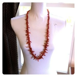 "Magnificent Genuine red coral necklace 16"" long"