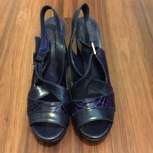 Tory Burch Navy Croc Textured Platform Sandals 8