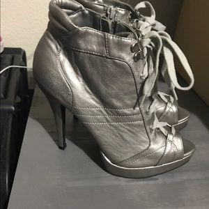 High heel silver booties