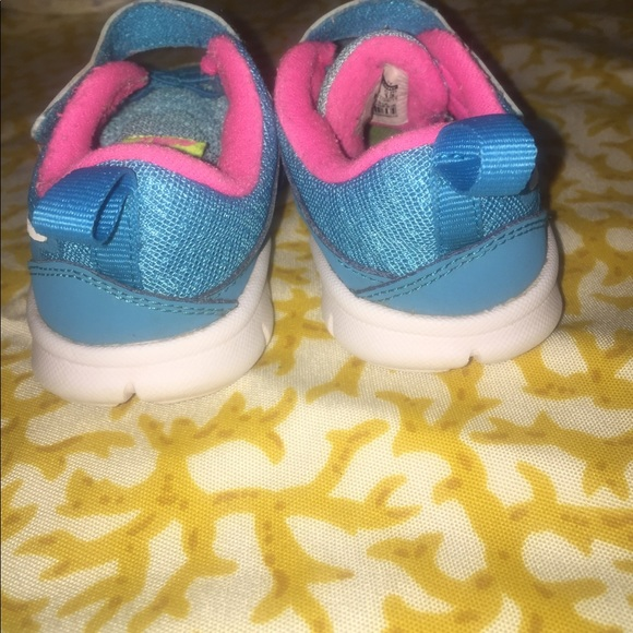nike toddler nikes blue pink white and lime green from