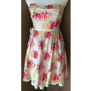 Ruby Rox Dresses & Skirts - Floral Striped Cotton Strapless Flared Mini Dress