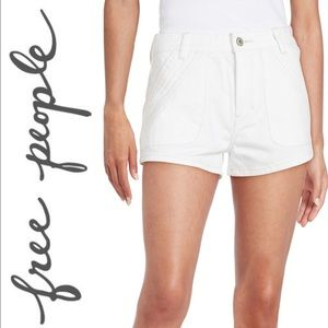 Free People White Shorts • Embroidered Denim Short