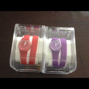 Swatch Accessories - 2 NIP Swatch Wrap Watches Red Purple
