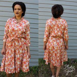 Vintage 1970's Orange Floral Secretary Dress