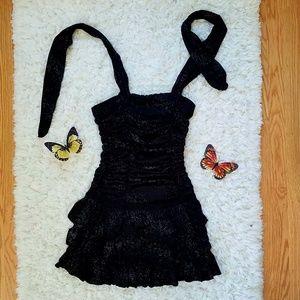 Juniors Black Halter Party Dress