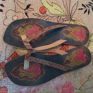 Shoes - Genuine leather patterned flip flops