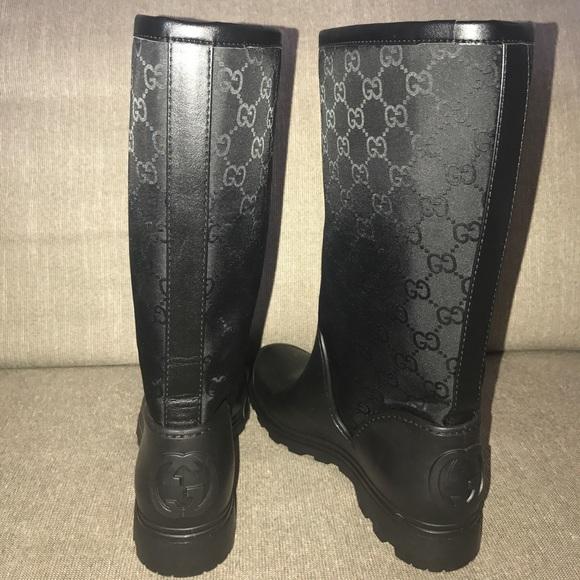 58674b959 Gucci Shoes | Signature Logo Black Gg Short Rain Boot 37 | Poshmark