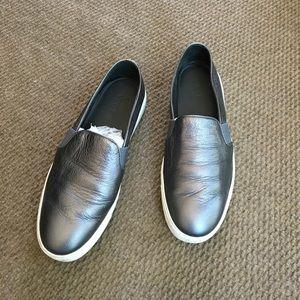 Vince Metallic Grey Leather Slip-Ons