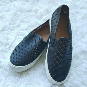 New J Crew Black Perforated Slip-On Loafer