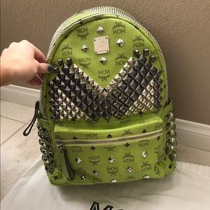MCM Handbags - MCM lime large backpack with Silver/Grey hardware