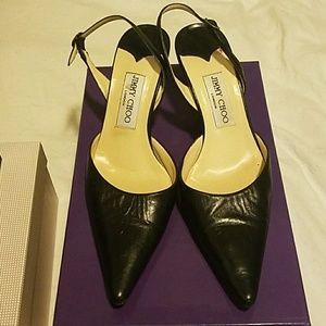 Authentic Jimmy Choo black kitten heels 38