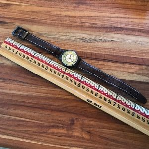 Swatch Accessories - Vintage swatch Swiss watch brown leather green