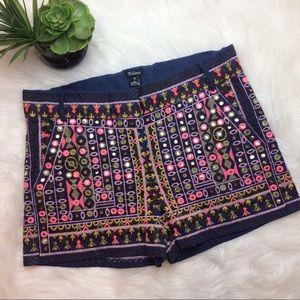 Tolani Pants - Tolani Sally Embroidered Shorts in Navy Multi