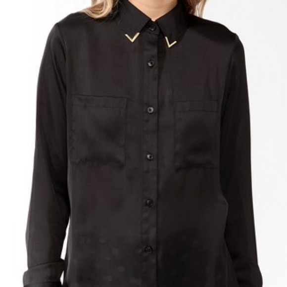 25 Off Forever 21 Tops Forever 21 Black Silk Button