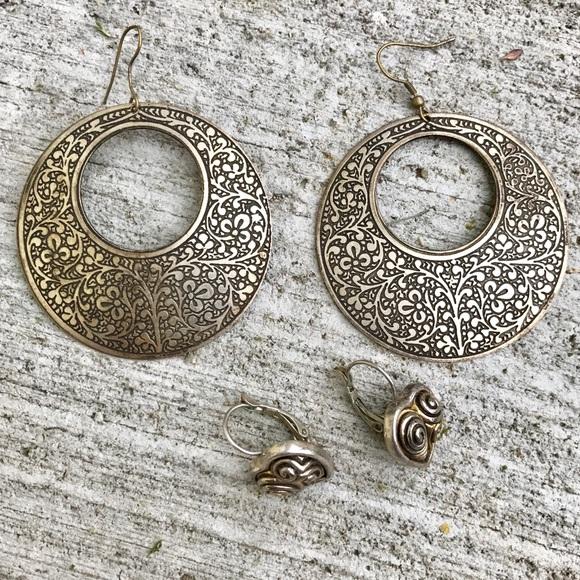 4a8a7e9a02723 🎈4/$25 VINTAGE HOOP earrings metal SILVER heart