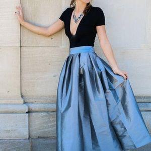 Silver High Waisted Pleated Maxi Skirt