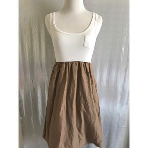 Gap white and brown dress