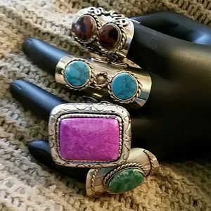 Unbranded Jewelry - Bundle of 4 BOHO Adjustable Rings Purple Blue