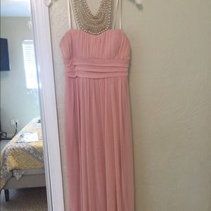Pink maxi with pearl neck