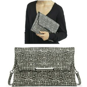 Sole Society Black and White Envelope Clutch