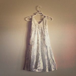 Dresses & Skirts - Blue Sketched Flowers on White Halter Dress Small