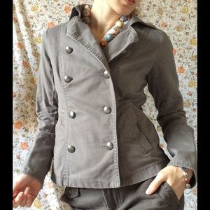Double Breast Military Grey Structure Jacket