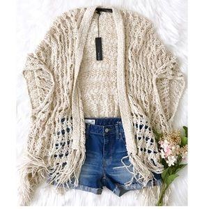 360 Sweater Sweaters - ✨Boho fringed open knit cardigan